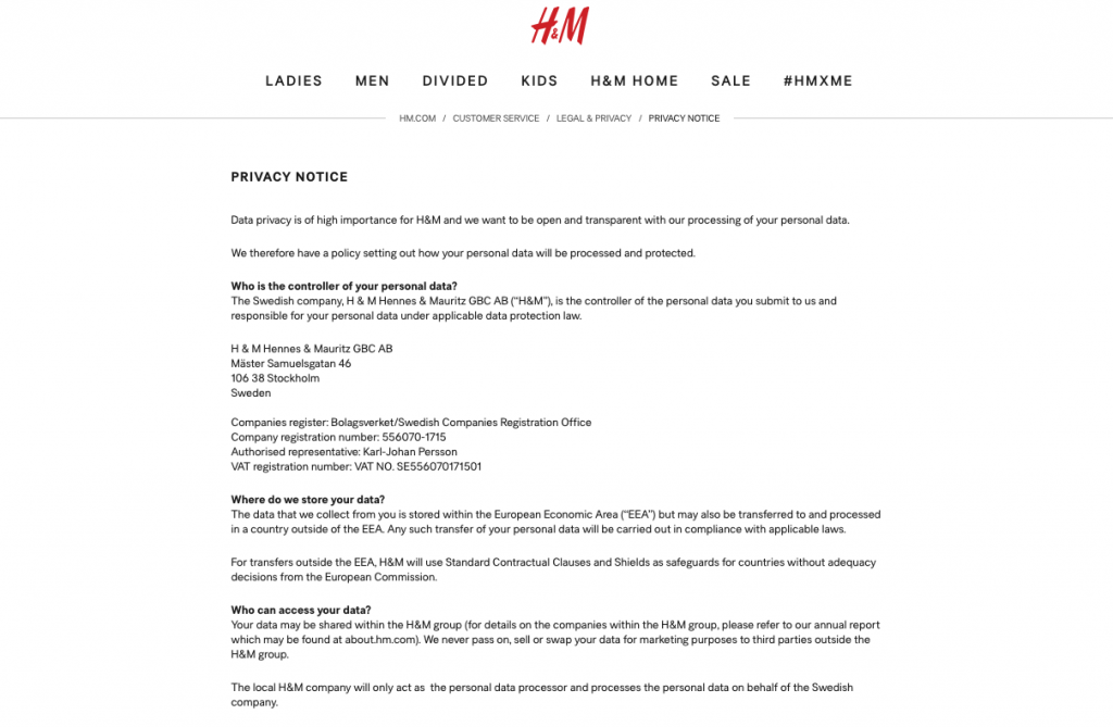 H&M Privacy Notice