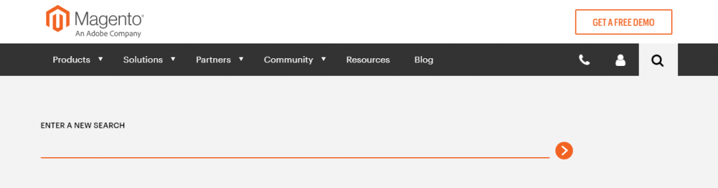 The search bar on the Magento website