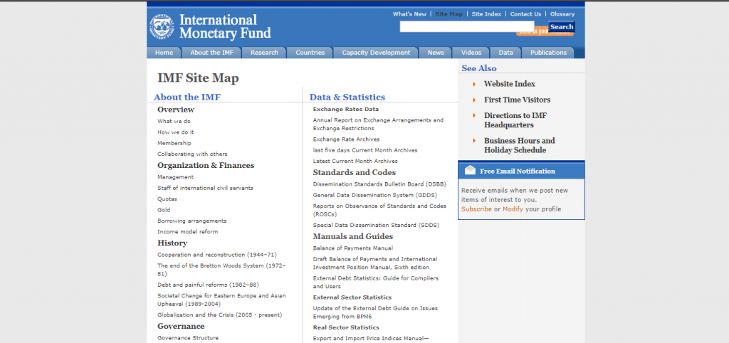Site Map on the IMF website
