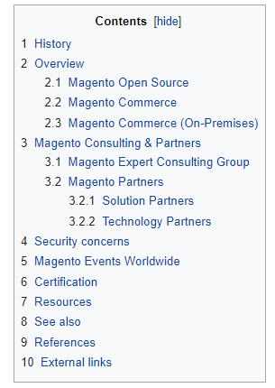 The table of content on Wikipedia