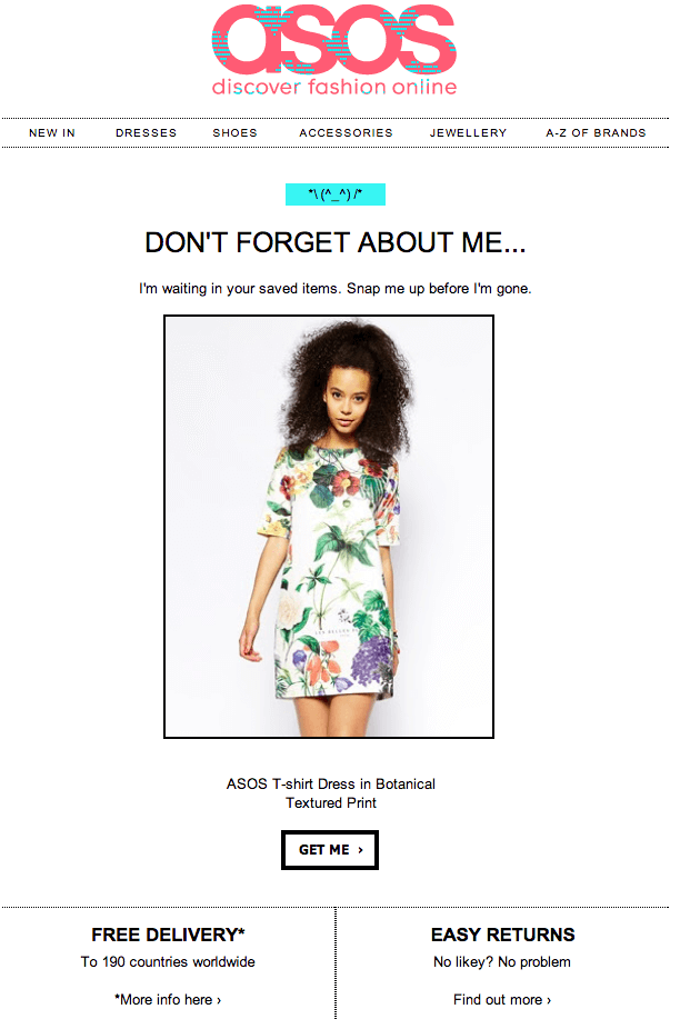 The email of ASOS offering additional features