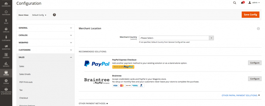 Paypal and Braintree Payments Configuration on Magento Admin Page.