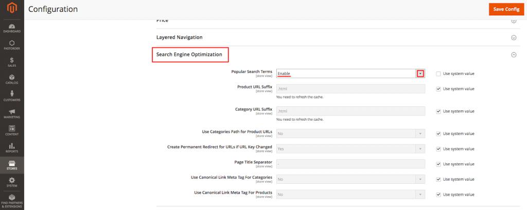 Magento Catalog Section