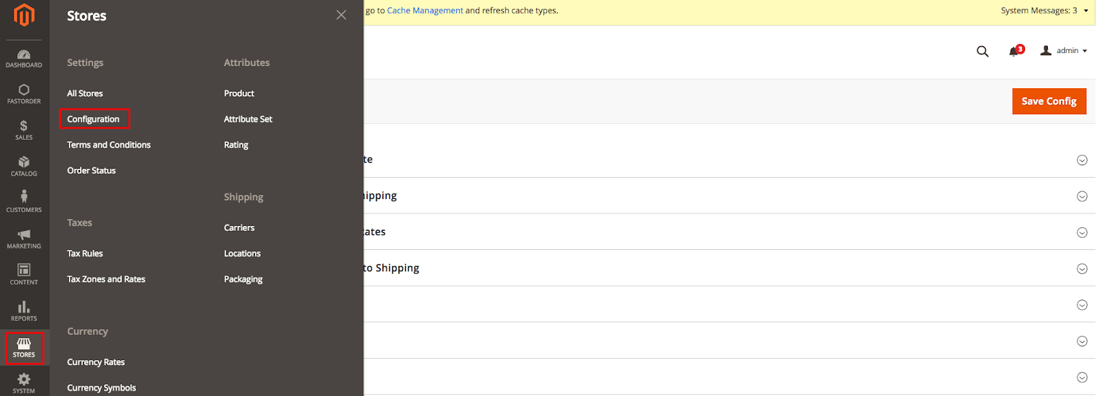 DHL in Magento Admin: Stores>Configuration