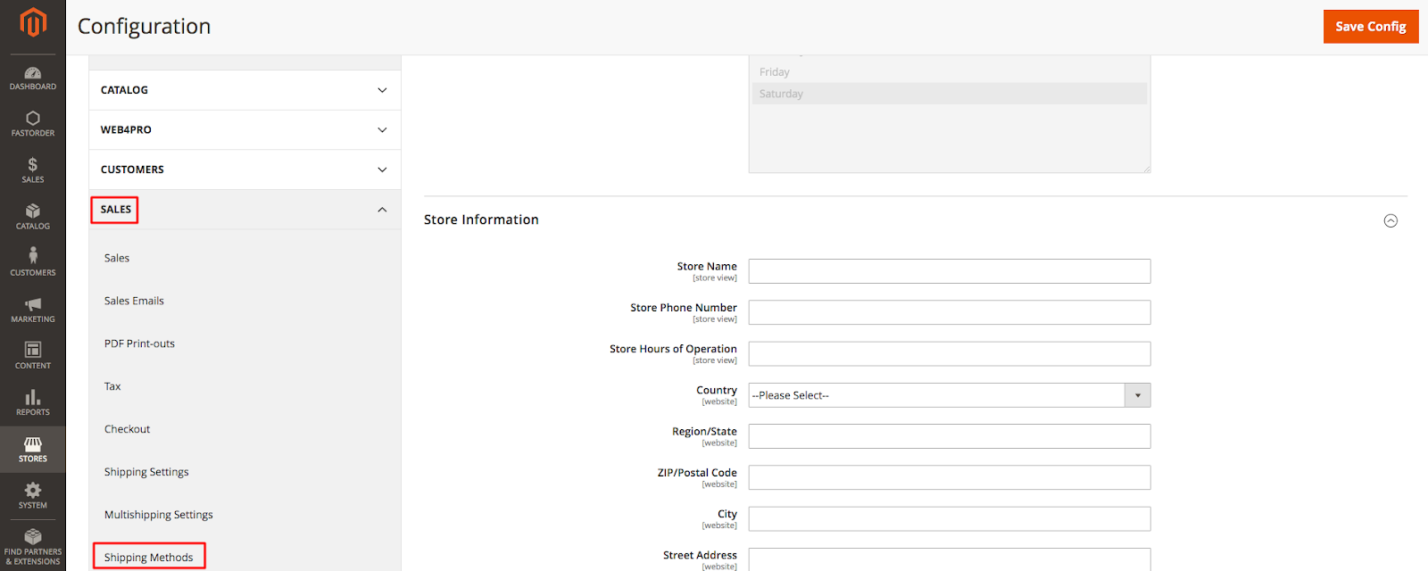 DHL in Magento Admin: Sales> Shipping Methods
