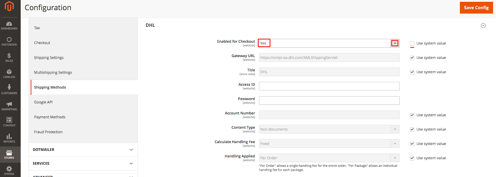 DHL in Magento Admin: Enable for Checkout