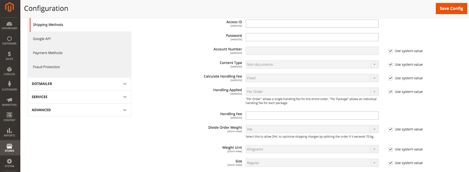DHL in Magento Admin: Package Description and Handling Fee