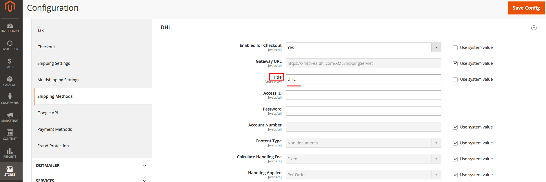 DHL in Magento Admin: Name of the Shipping Method