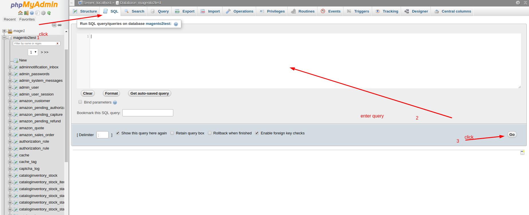 Select 'SQL' Tab and Rub Query