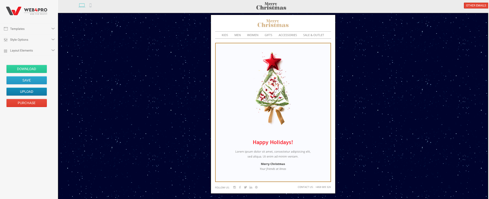 WEB4PRO Merry Christmas Email Template