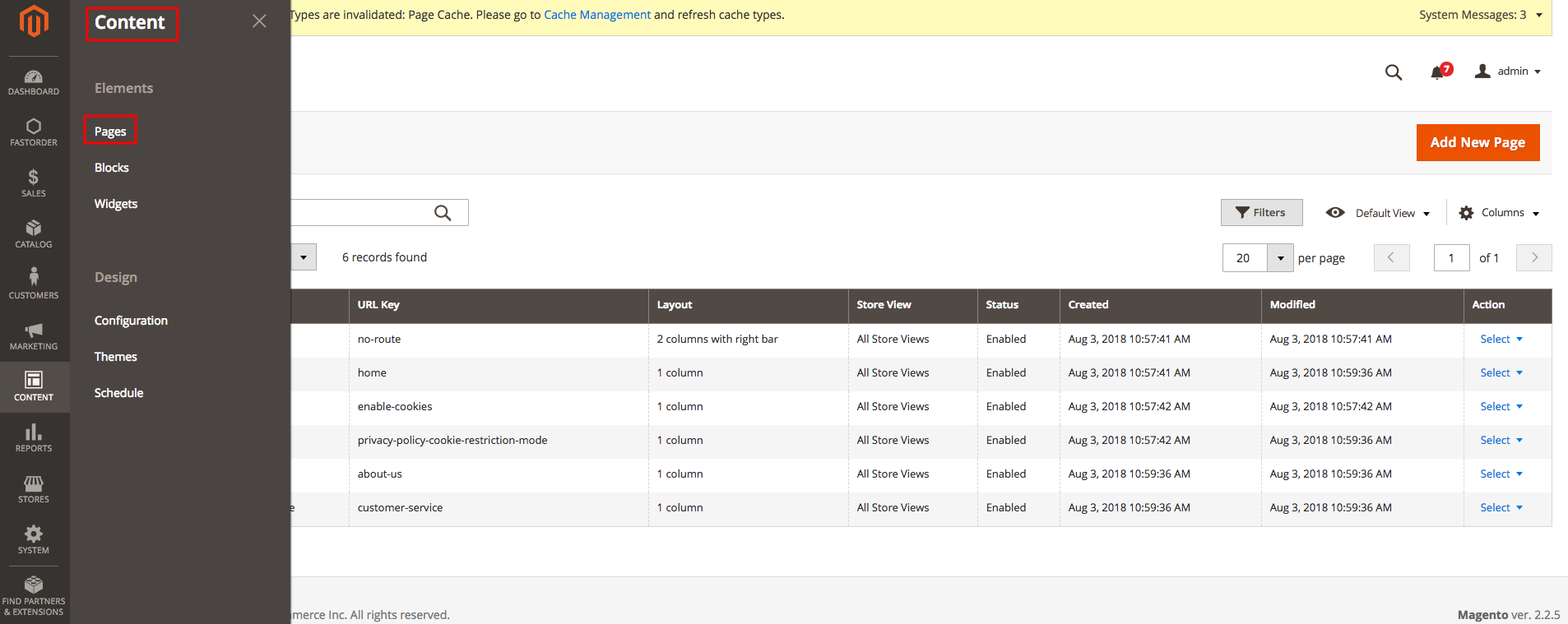 Content-Pages in Magento 2 Admin