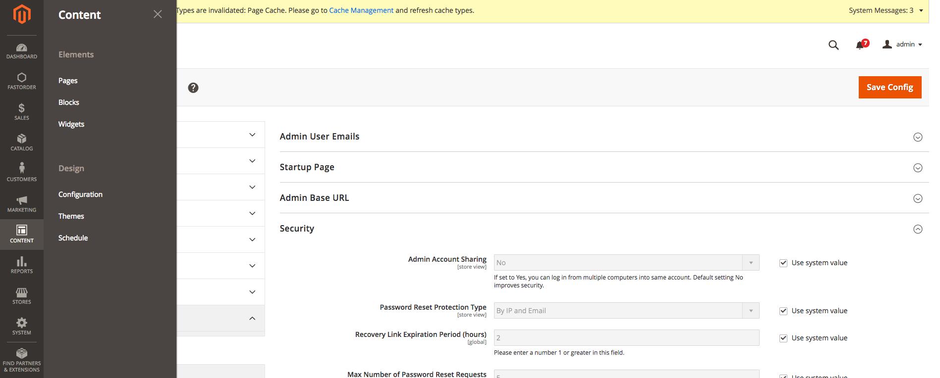 Admin panel > Content > Configuration
