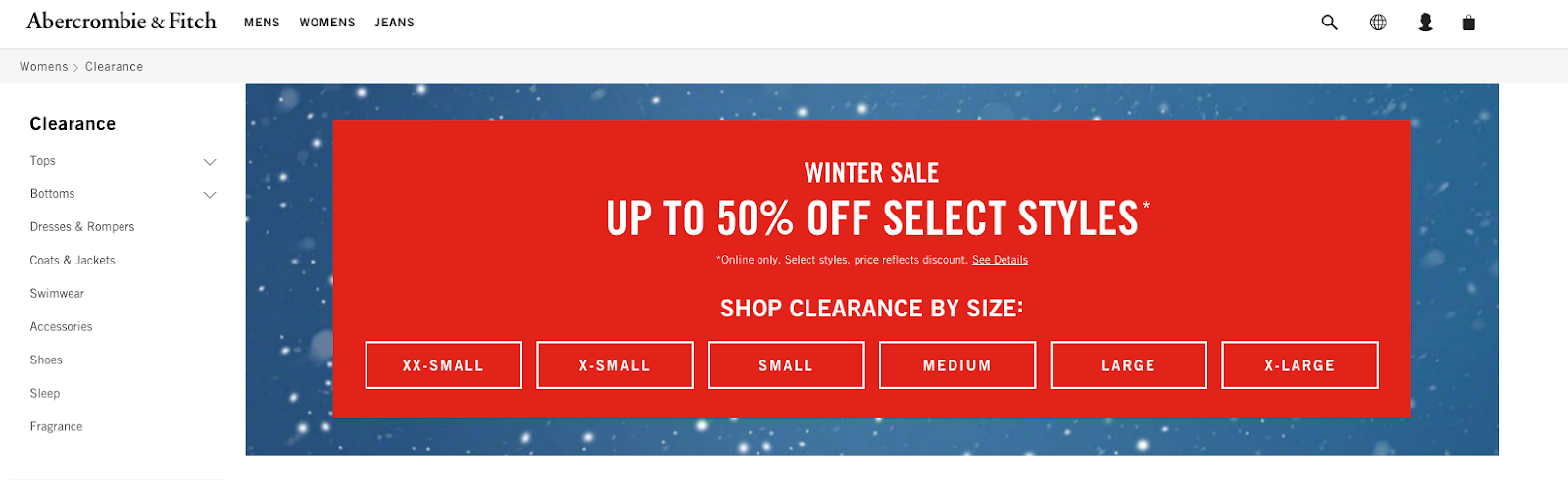 Abercrombie&Fitch Shop Clearance by Size Feature