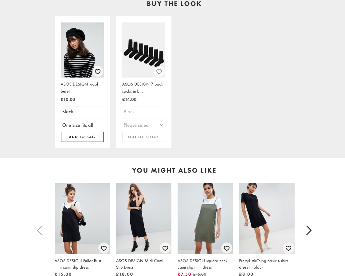 ASOS Buy the Look and You Might Also like Features