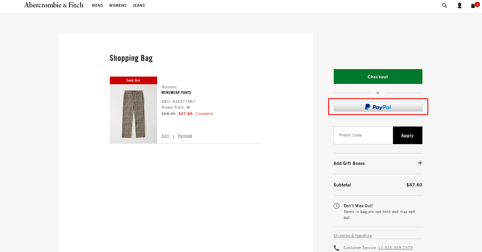 Abercrombie & Fitch Checkout: Check Payment Through PayPal