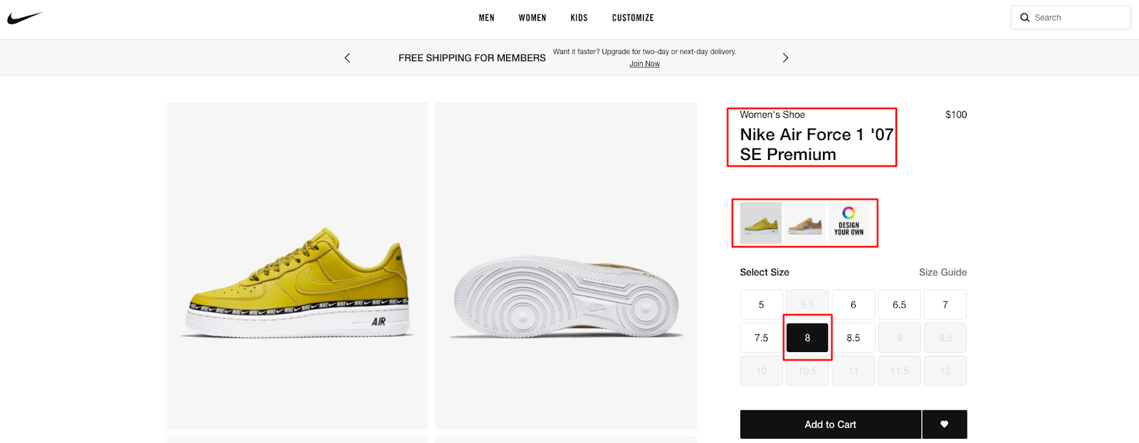 Nike Product Options Before the Checkout