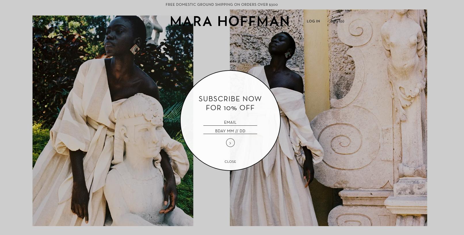 Mara Hoffman Globe Shaped Popup on the Homepage