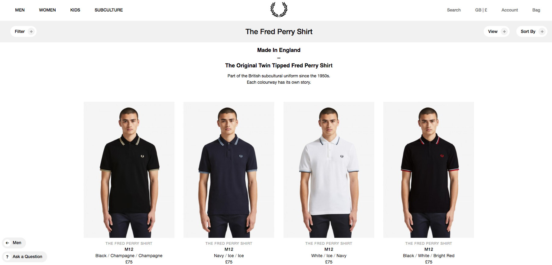 Fred Perry Product Listing Page