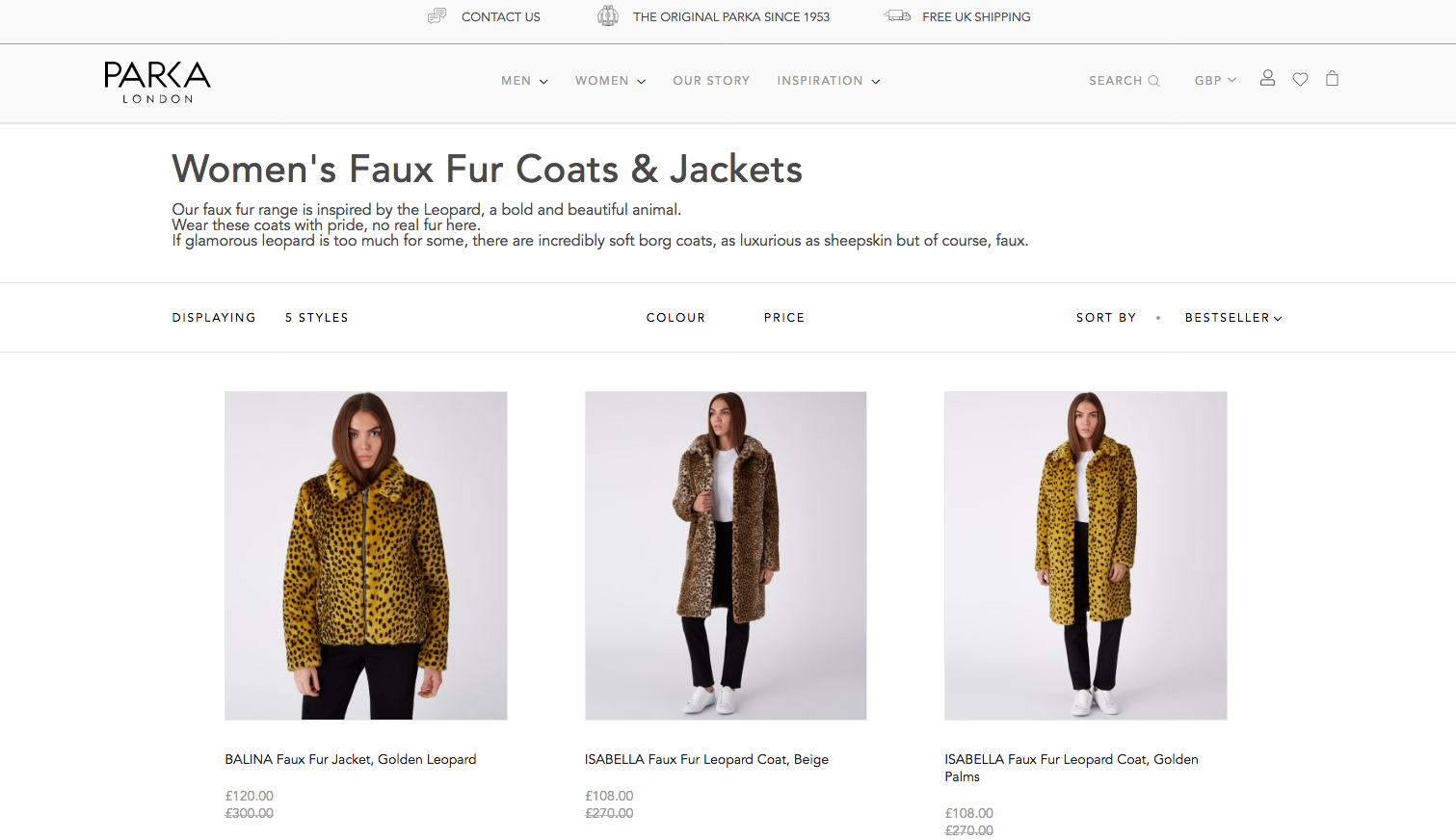 Parka London Product Listing Page