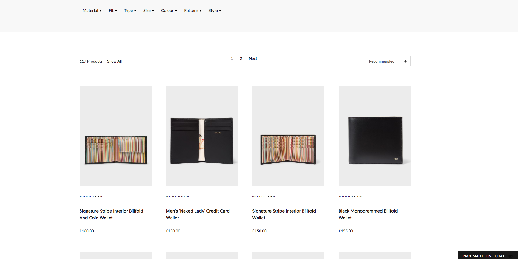 Paul Smith Product Listing