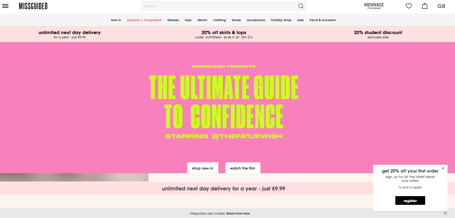 Missguided Homepage