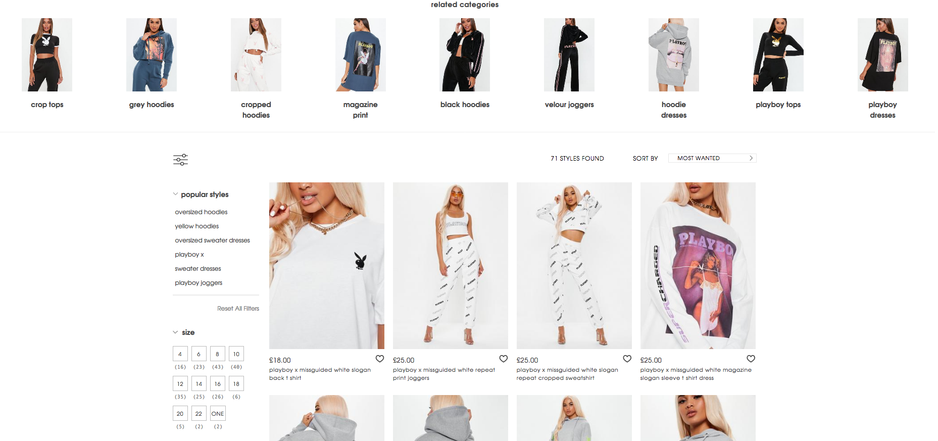 Missguided Product Listing