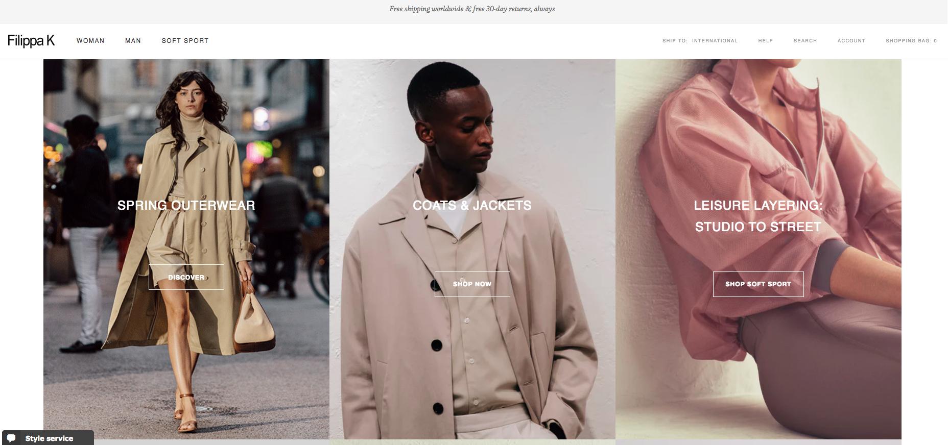 Filippa K Homepage
