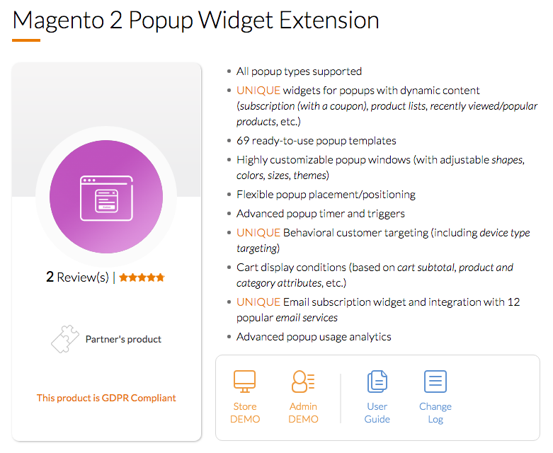 Magento 2 Popup Widget Extension by Mageworx
