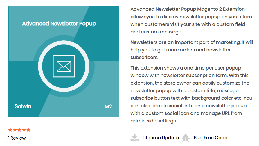 Advanced Newsletter Popup for Magento 2 by Solwin Infotech