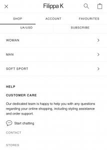 Website Navigation on Mobile Version