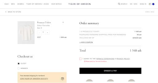 Tiger of Sweden checkout page design