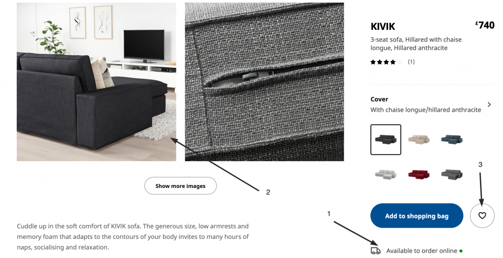 IKEA product page features