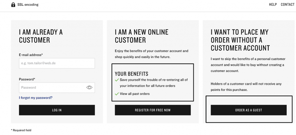 Tom Tailor eCommerce checkout
