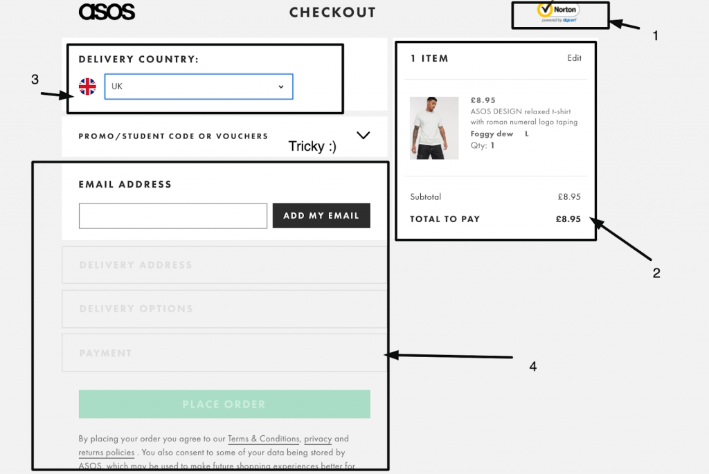 ASOS one-step checkout example