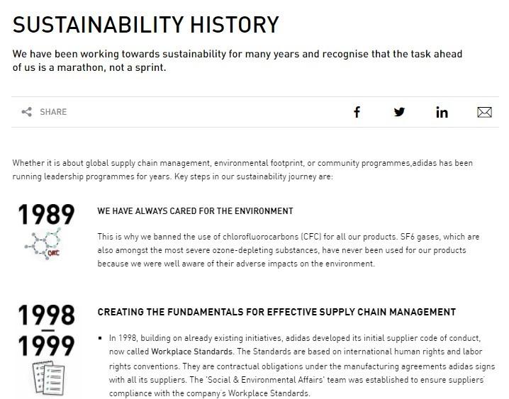 Adidas sustainability history