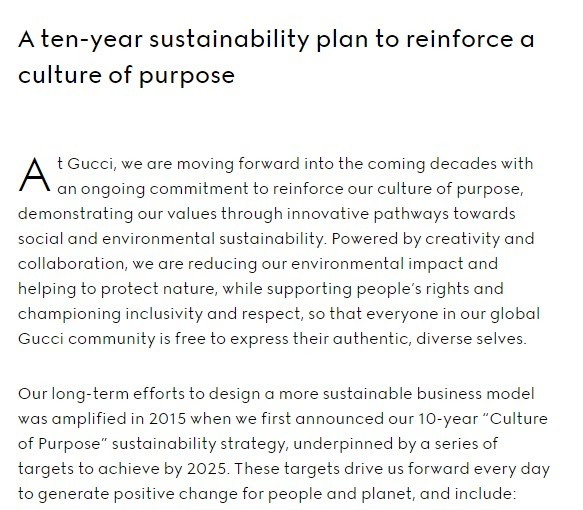 Gucci sustainability initiatives
