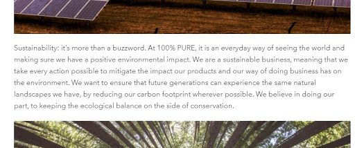 100% Pure about sustainability