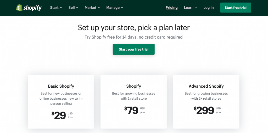 Shopify plans and pricing