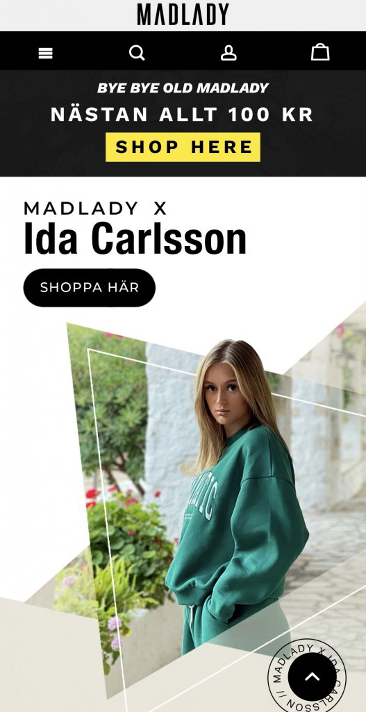 Madlady mobile, Home page