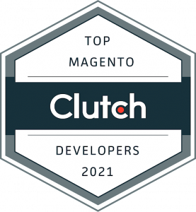 Clutch's award badge Top Magento Developers