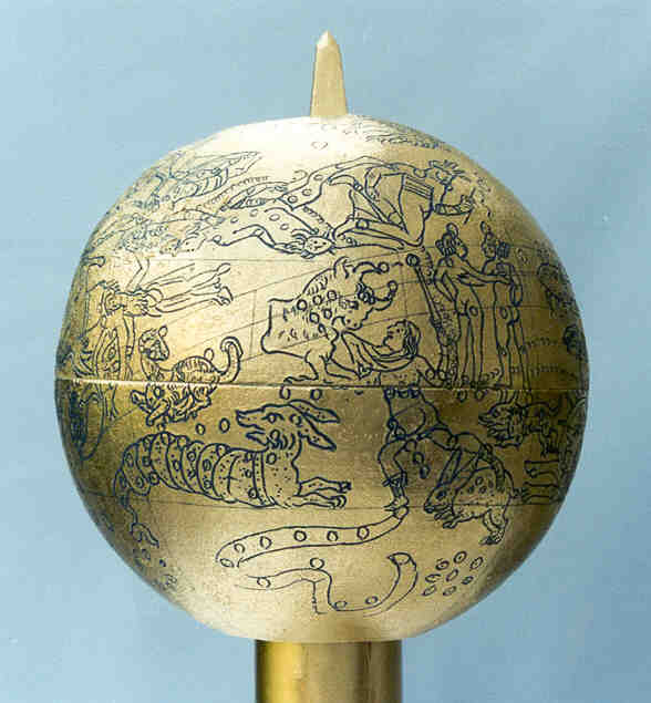 mainz globe: perseus, andromeda, aries, taurus, gemini, cetus, orion, lepus, eridanus