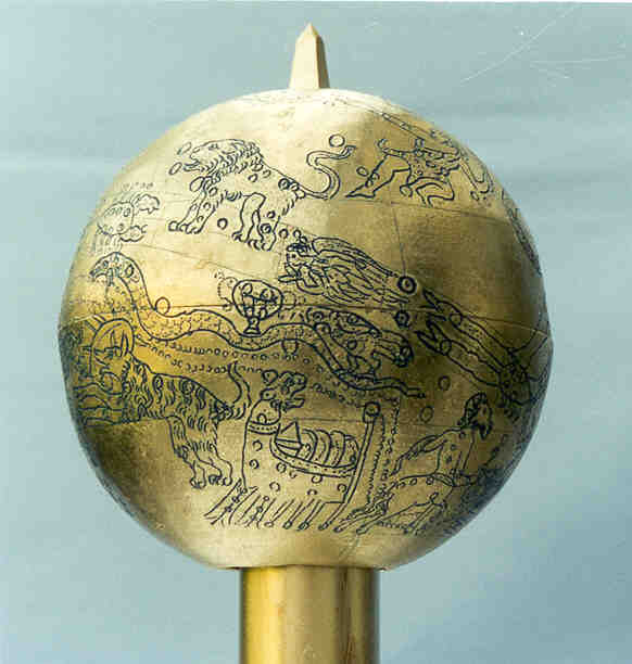 mainz globe: cancer, leo, virgo, scorpius, crater, corvus, hydra, lupus, argo navis, centaurus and the milky way