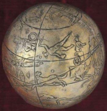 kugel globe: cassiopeia, andromeda, perseus, auriga, pisces, triangulum, aries, gemini, cetus, orion