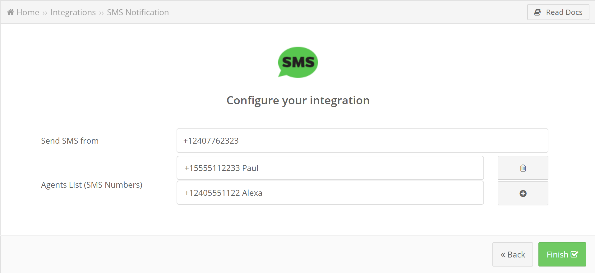 sms by leads bridge creation