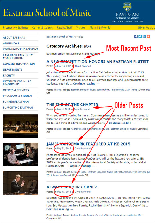 Blog posts typically display in reverse chronological order, with the latest blog post at the top