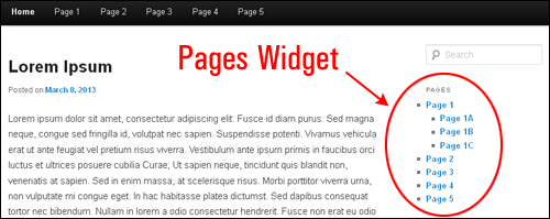 WordPress Page Widgets