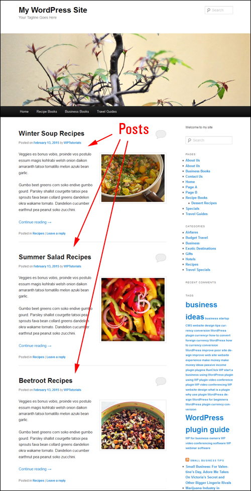 Posts displayed as entries on a blog page