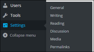 WordPress menu - Settings