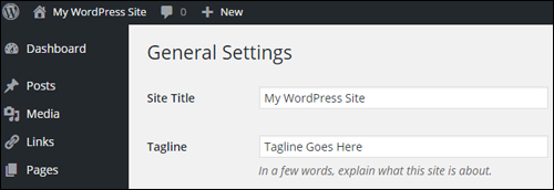 WordPress Settings - General Settings