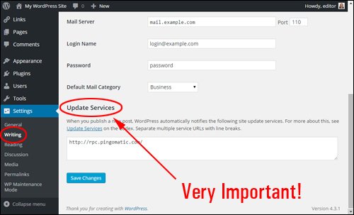 WordPress Settings - Writing Settings